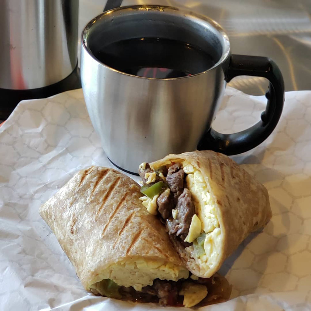 Kubo Express - steak burrito and coffee (Kubo)
