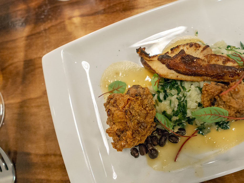 SLC Eatery - chicken two ways with breast, crispy thigh, toasted rice, collards