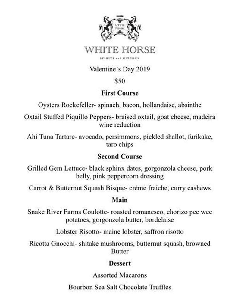 White Horse Valentines 2019 menu