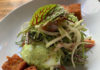 SLC Eatery - crab benedict, avocado hollandaise , chayote, fennel and heirloom cherry tomato salad (SLC Eatery)