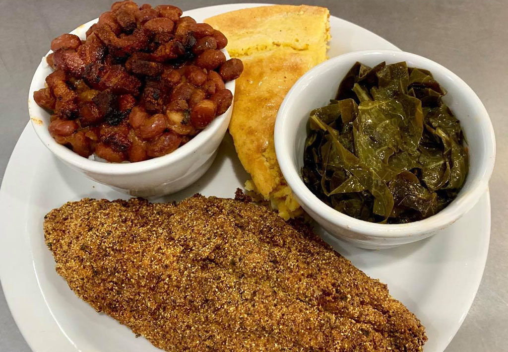 Sauce Boss Southern Kitchen - catfish with red beans, rice and collard greens (Sauce Boss)